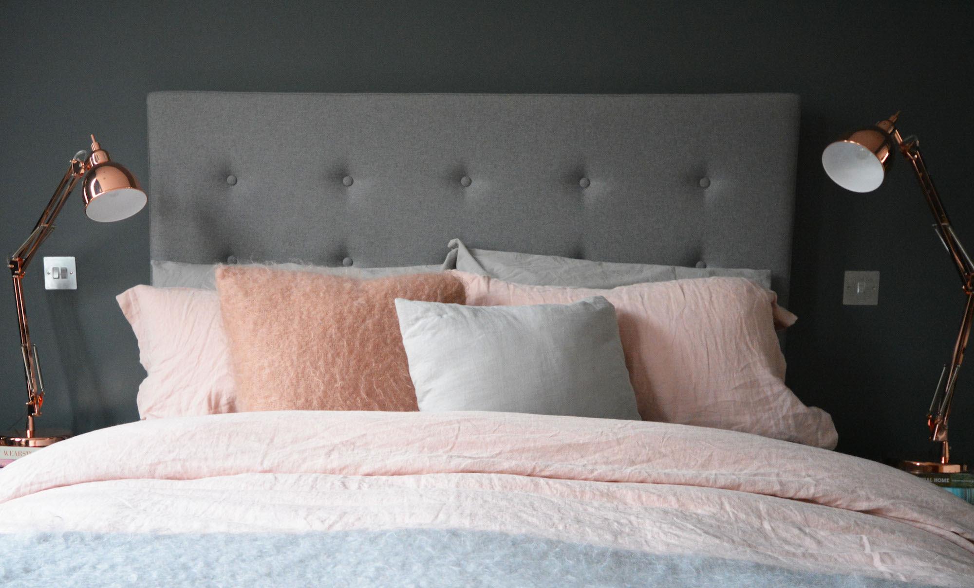 Bedroom Makeover: Grey, Copper + Pink | FLAT 15 Design