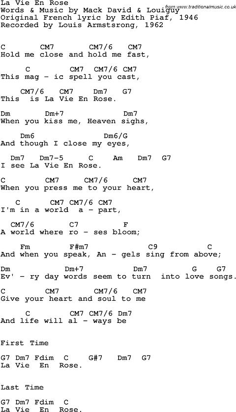 La Vie En Rose Lyrics Louis Armstrong Chords
