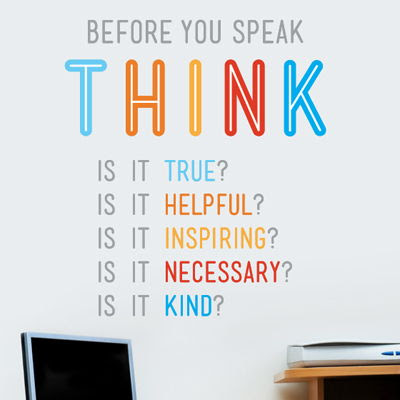 Think Before You Speak Quote Printed Wall Decals Stickers Graphics
