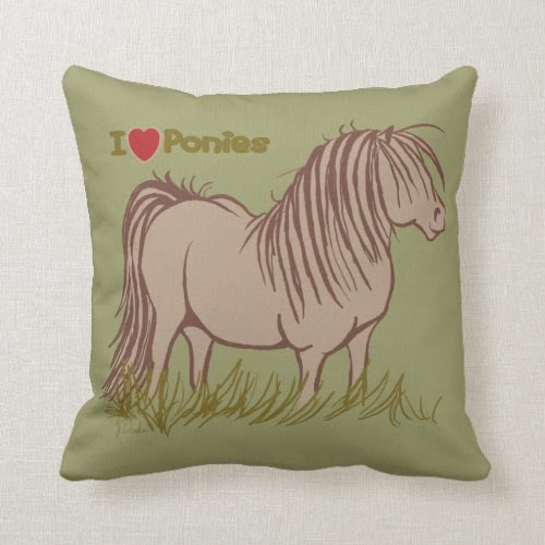 I Love Ponies Throw Pillow