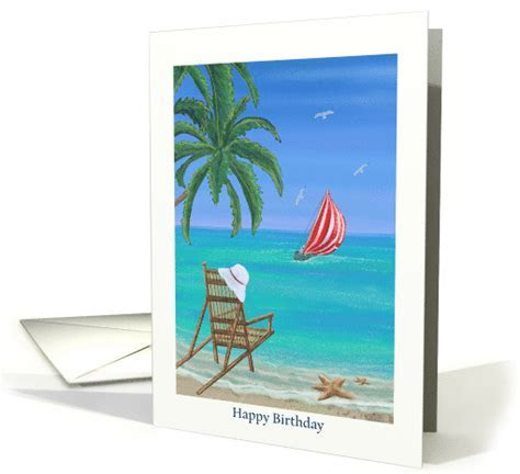 Beach and Sailing Birthday card with beach chair and