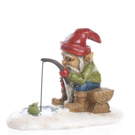 Miniature Ice Fishing Gnome   Fairy Garden Supplies