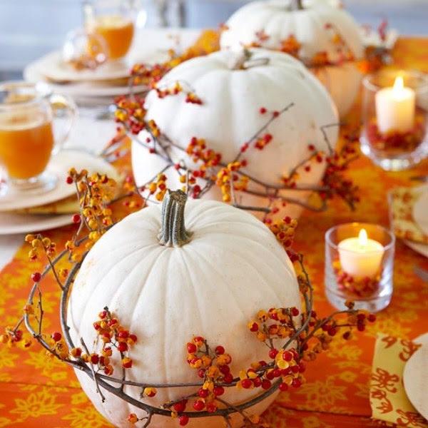 centre de table courge décorée automne