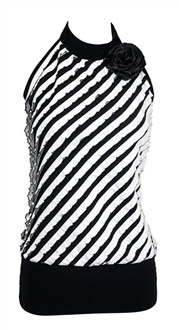 Plus size Corsage Ruffled Halter Top with Black Stripe