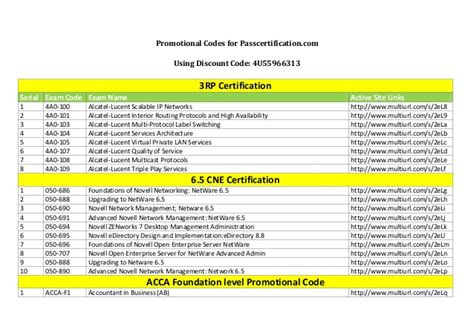 certifications exam coupons promo code