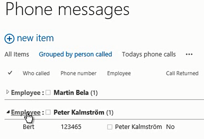 SharePoint Phone Messages Grouped By Person Called View