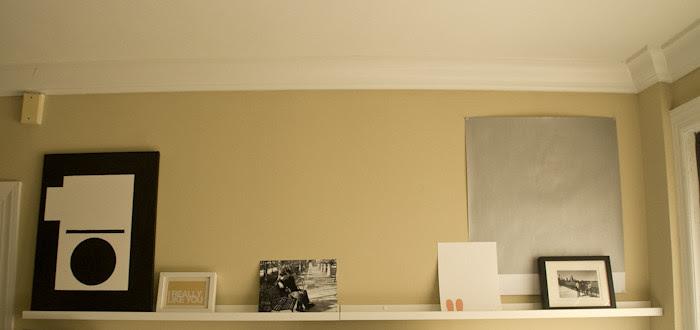 wall ledge, art collection, ikea shelves, graphic collection, dash dot dotty