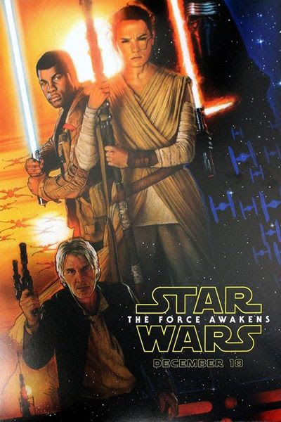 A Drew Struzan-drawn poster for THE FORCE AWAKENS that was available only to attendees at Disney's D23 Expo at the Anaheim Convention Center.