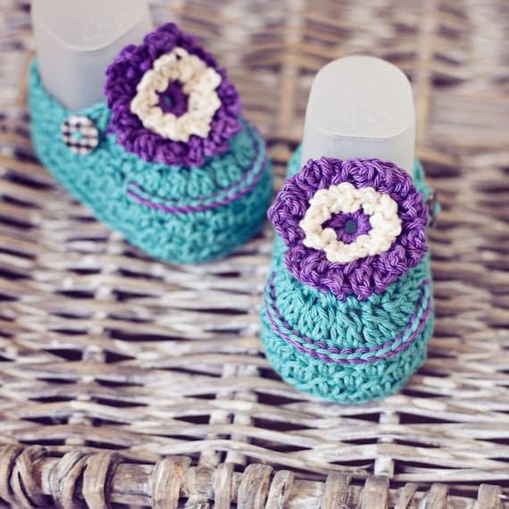 Baby Booties Crochet PATTERN (pdf file) - Violet Flower Booties