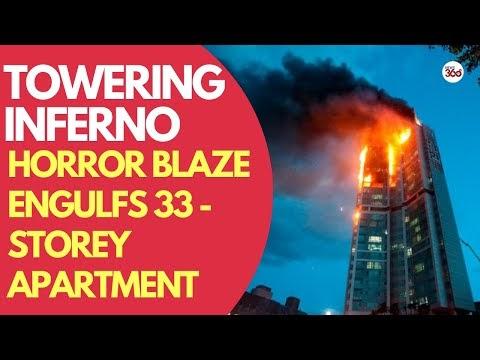 77 People hospitalized after a huge blaze engulfs 33- storey apartment b...