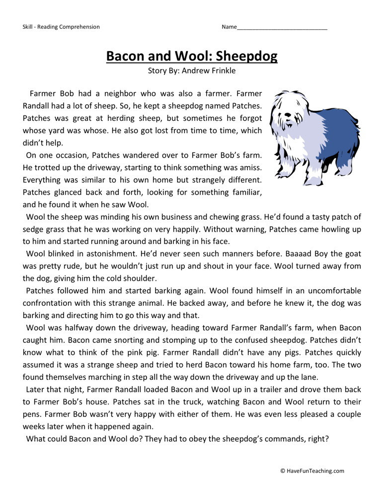 Reading Prehension Worksheet Bacon And Wool Sheepdog