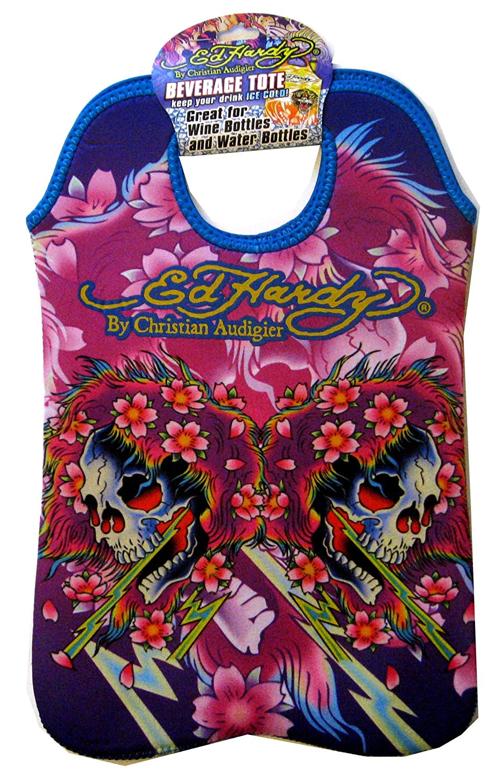 Ed Hardy Designs By Christian Audigier Neoprene Two-Bottle Wine Beverage Tote (Tattoo Skull Flowers)