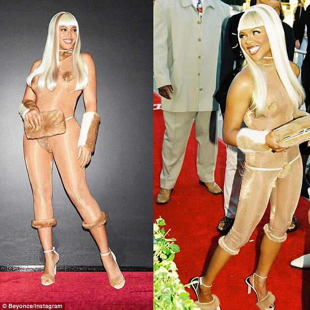 Making a statement: It seems Beyonce is a huge fan of the rapper Lil Kim, as she decided to dress like the Magic Stick singer for Halloween this year