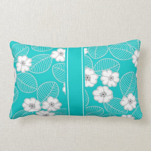 Teal Aqua White Damask DECOR SETS Throw Pillows from Zazzle.