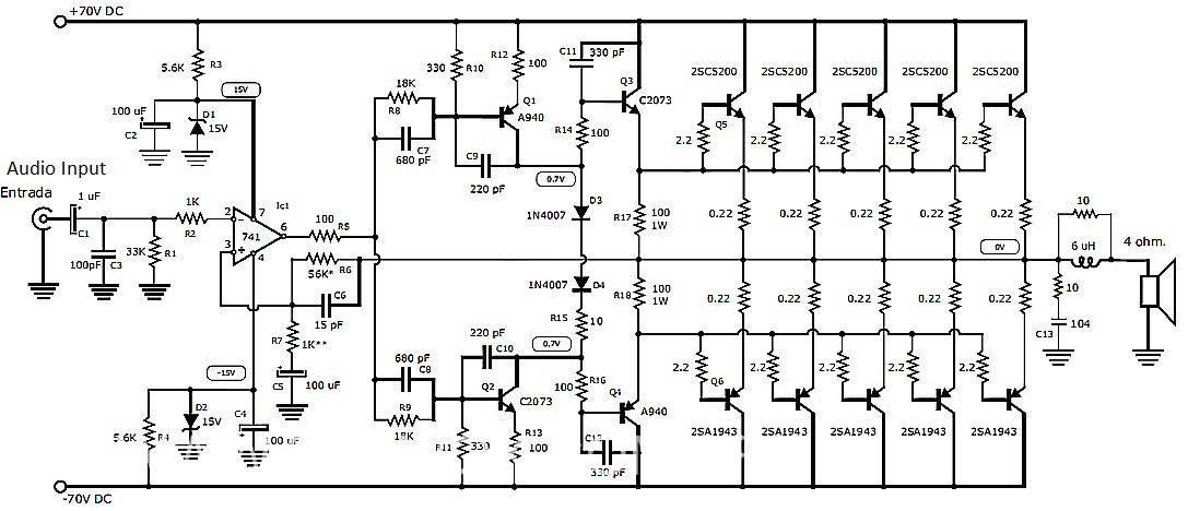 eletr u00f4nica campo el u00e9trico   esquema amplificador de  u00e1udio est u00e9reo 1000w com transistores 2sc5200