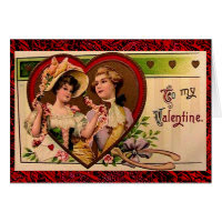 Victorian Valentines Couple with Verse Card