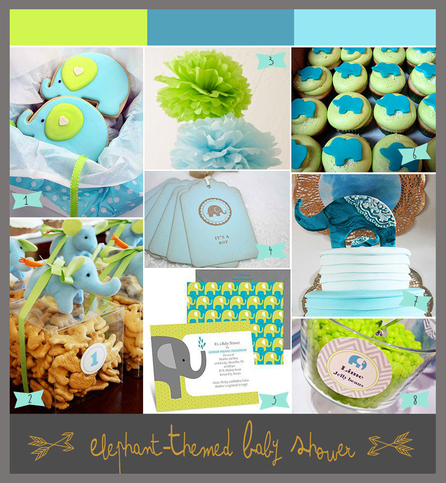 So Bright A Lime Green And Aqua Baby Shower With Elephants