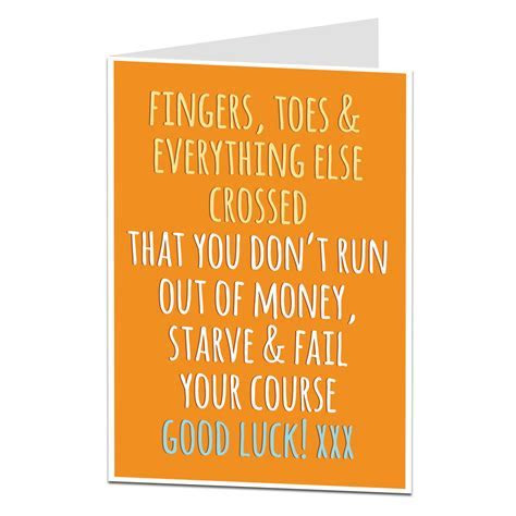 Funny Good Luck At Uni Card   Lima Lima Cards