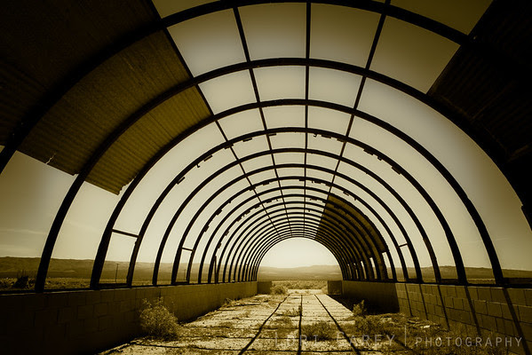 Abandoned quonset hut in the Mojave Desert, wabi-sabi