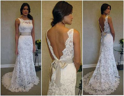 Lace Low Back Wedding Dress With Bow   Inofashionstyle.com