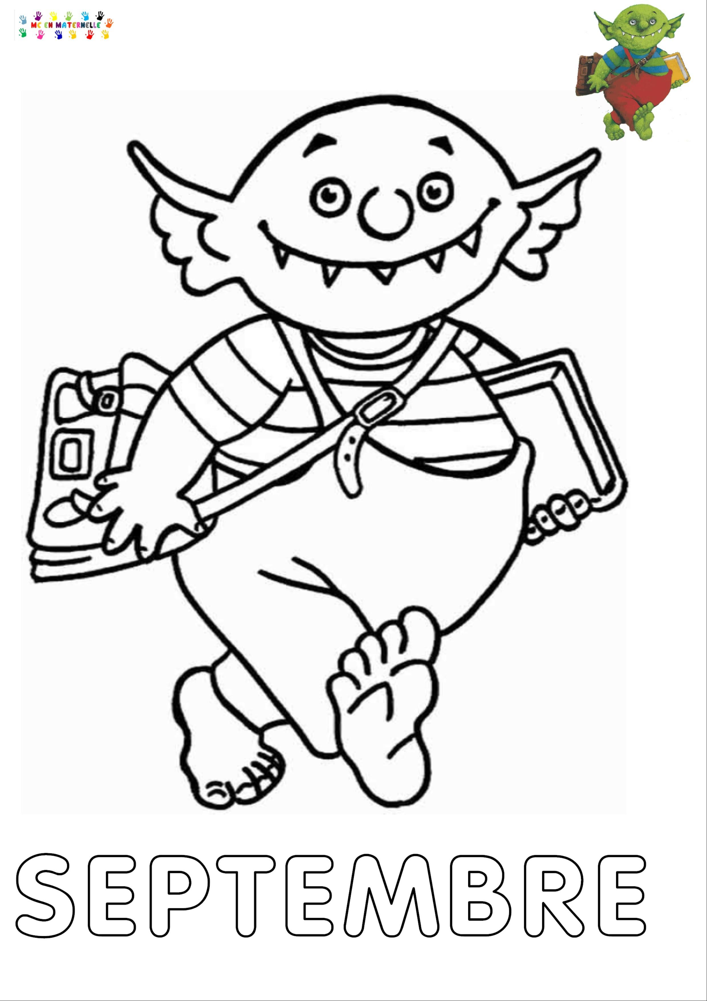 Le Petit Ogre Qui Veut Aller à Lécole Mois De Septembre Pour Le