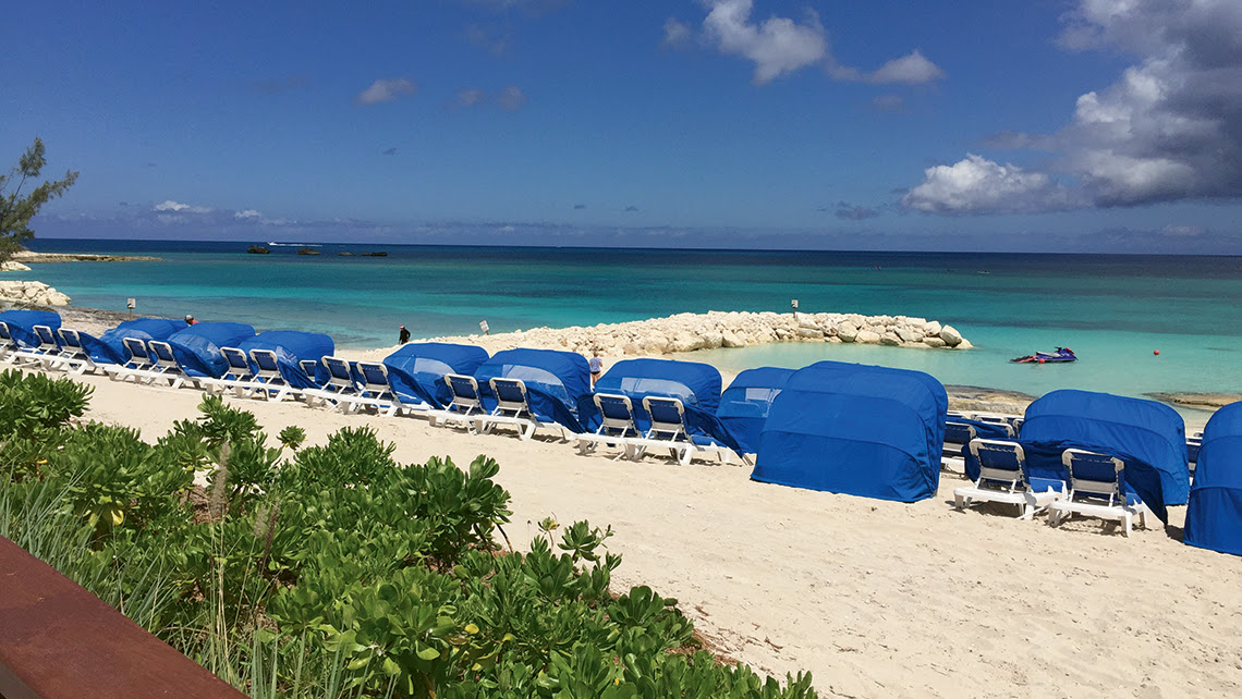 Norwegian Cruise Line has built jetties to help reduce beach erosion at Great Stirrup Cay in the Bahamas. Photo Credit: TW photo by Tom Stieghorst
