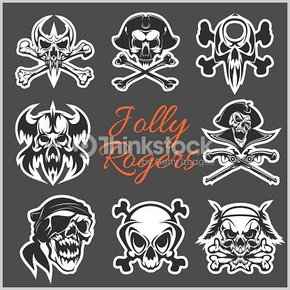 Símbolos De Jolly Roger Vectoriales En Fondo Oscuro Calaveras