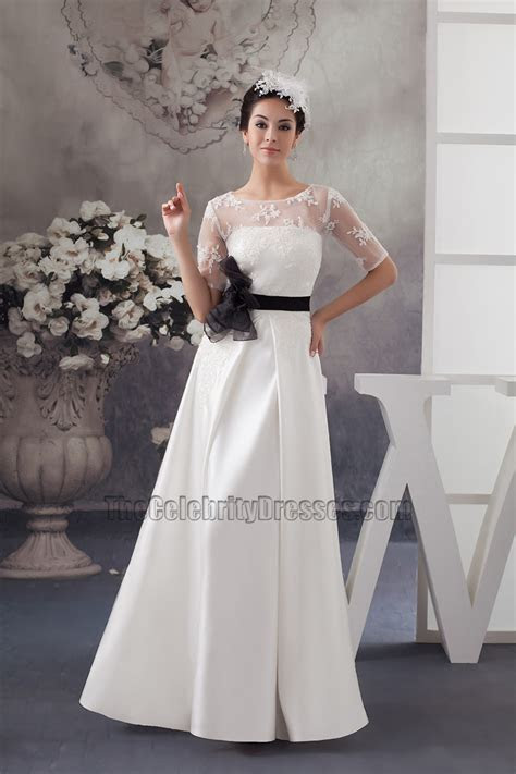 Elegant Satin Lace A Line Wedding Dress With Black Belt