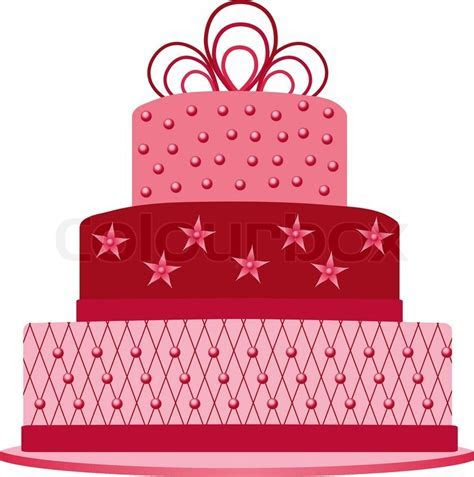 Pink cake   Stock Vector   Colourbox
