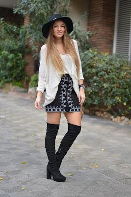 'A' SHAPE SKIRT AND OVER THE KNEE BOOTS