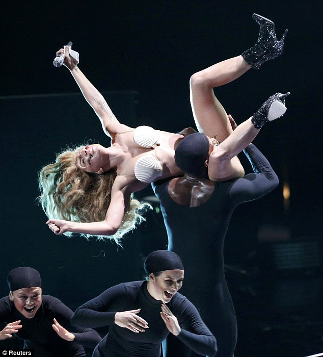 Riding high: Lady Gaga was certainly a tough act to follow as she kicked off the show with an attention-grabbing performance of new single Applause