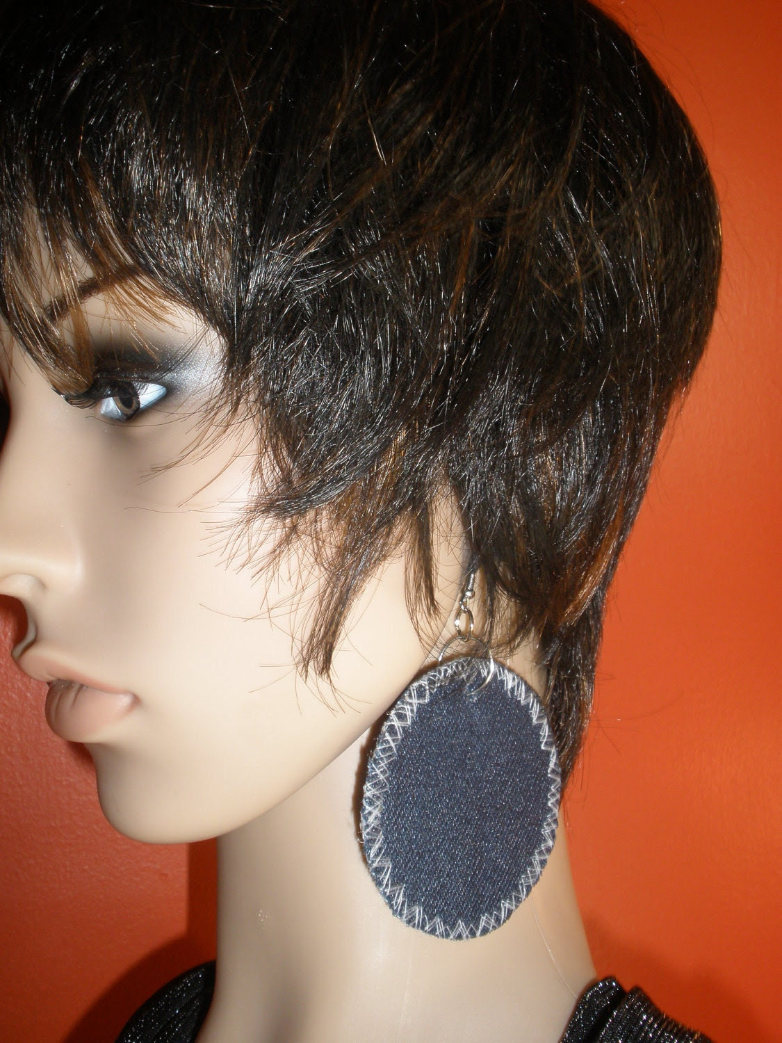 Attractive Dangling Hoop Style Denim Fabric Earrings