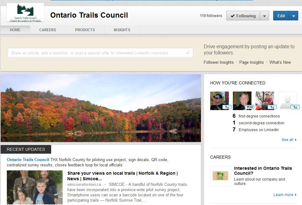 ontario trails council on linked in