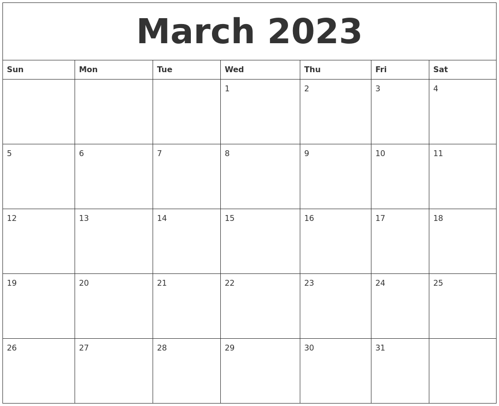 march 2023 free printable weekly calendar