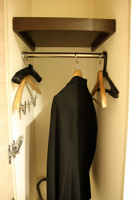 "The ""wardrobe"" is just a small closet right at the entrance, where you can hang your coat"