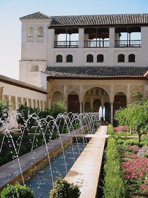 The fountains and gardens inside the Alhambra in Granada