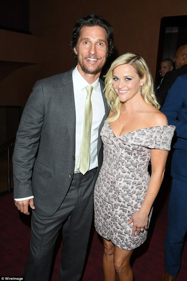 With her co-star: Reese posed with Matthew McConaughey who she also worked with on Mud