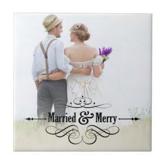 Vintage Married and Merry Photo Tile