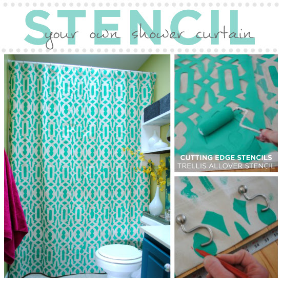 Learn How To Stencil Your Shower Curtain