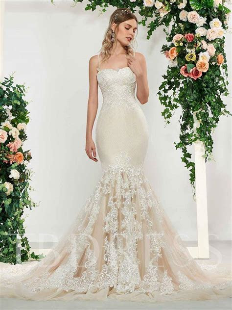 Spaghetti Straps Lace Mermaid Wedding Dress 2019   Tbdress.com