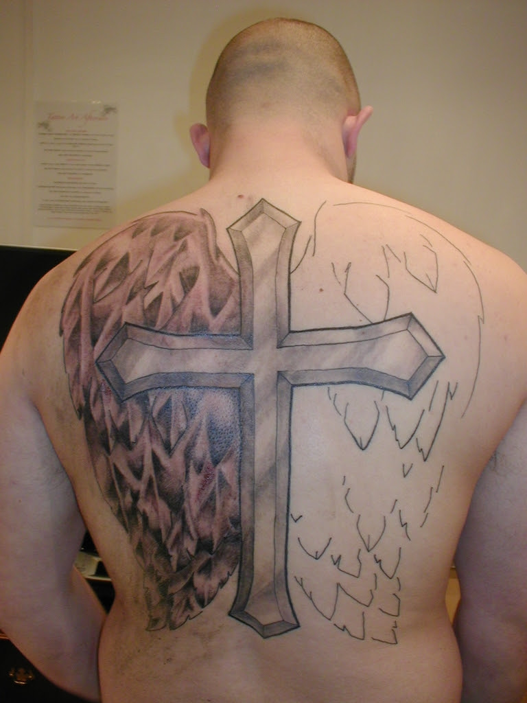 Cross With Wings Tattoo Design