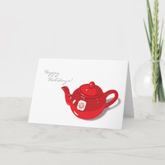 Peppermint Teapot Holiday Card