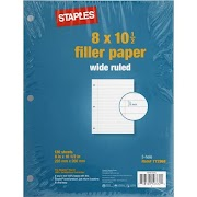 """Staples Wide Ruled Filler Paper, 8"""" x 10-1/2"""", 120/Pack (37426M)"""