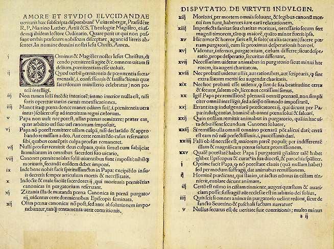 Trecho das 95 teses de Martinho Lutero