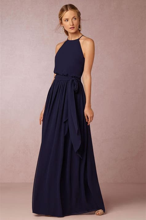 2018 Burgundy BHLDN Bridesmaid Dresses Navy Blue Chiffon