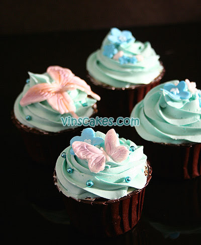 Flower & Butterfly Wedding Cupcake