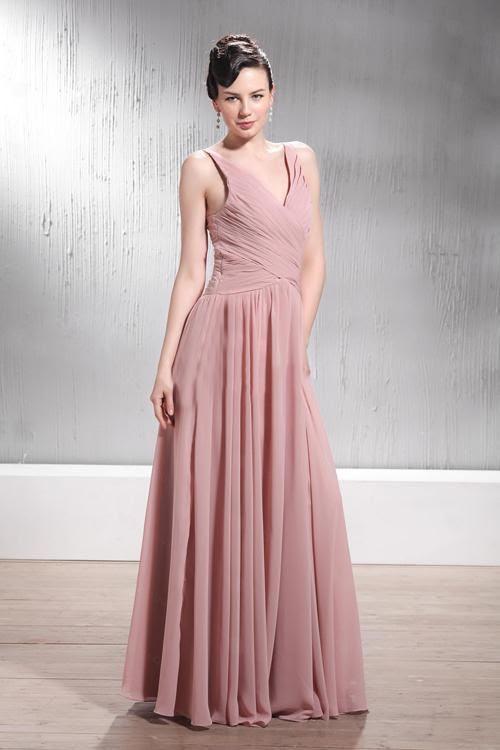 Dusty pink evening dresses