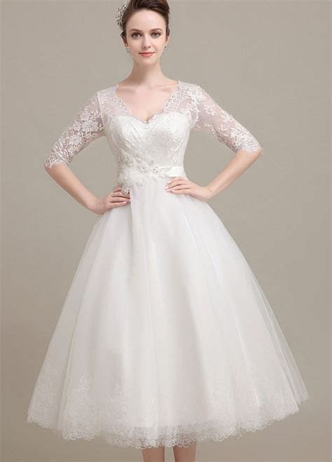 Lace tea length wedding dress with sleeves (update July