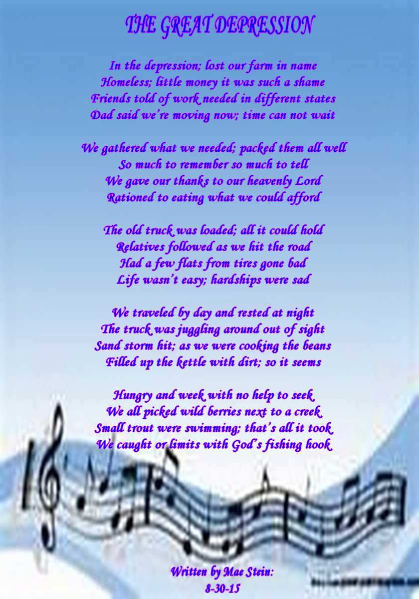 THE GREAT DEPRESSION - Spiritual Poetry
