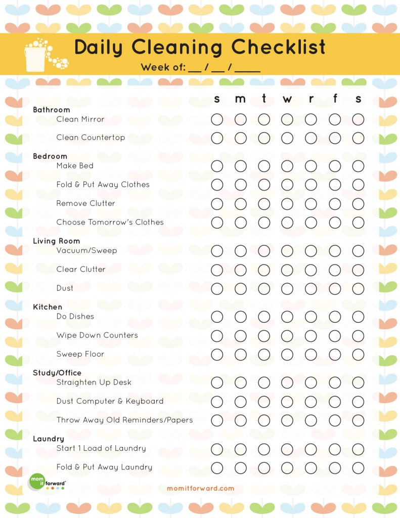 Daily Cleaning Schedule Printable